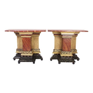 Italian Antique Faux Marble Consoles - A Pair For Sale
