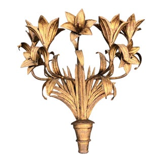 Italian Gilt Iron Floral Wall Sconce For Sale