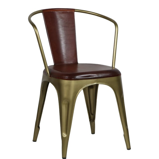 Industrial Style Leather Brass Cigar Bar Chair For Sale