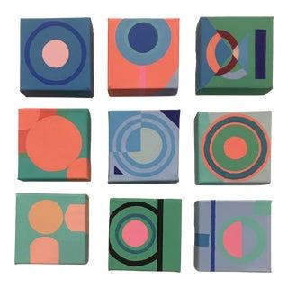 """2019 Brooks Burns """"Postmodern Bullseye 2"""" Original Memphis Design-Inspired Abstract Paintings - Set of 9 For Sale"""