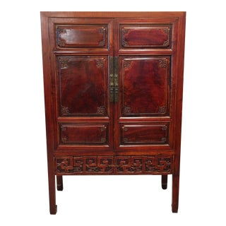 Mid-19th Century Qing Dynasty Chinese Carved Wood Armoire