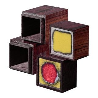 Pair of Wood and Enamel Alfred Klitgaard Desk Top Storage Boxes For Sale