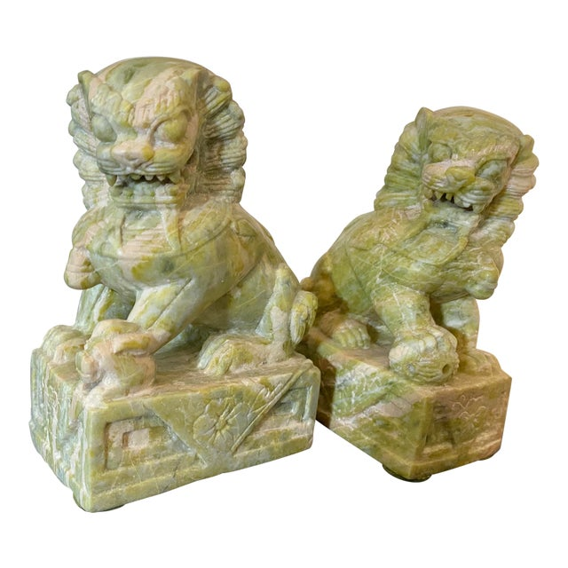 Vintage Hand Carved Stone Foo Dogs - a Pair For Sale