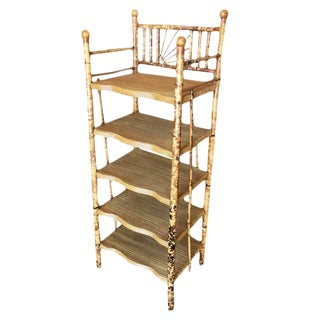 Restored Aesthetic Movement Tiger Bamboo Five-Tier Book/Magazine Shelf For Sale