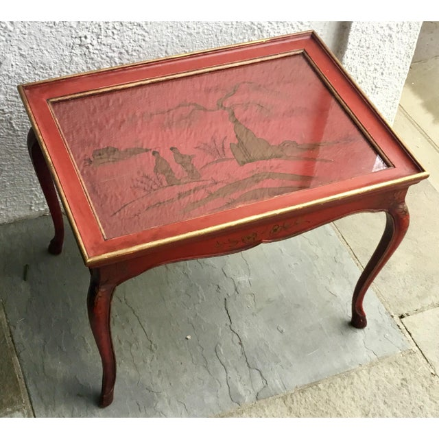 1950s Chinoiserie Red Hand Painted Coffee Table For Sale - Image 13 of 13