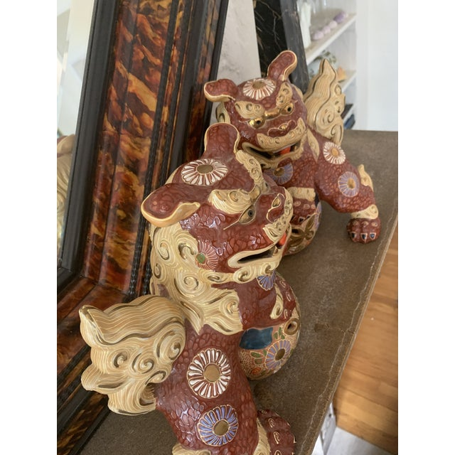 1920s Vintage Asian Antique Foo Dogs - a Pair For Sale - Image 5 of 10