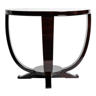 Art Deco Style Round Table with Walnut Veneer