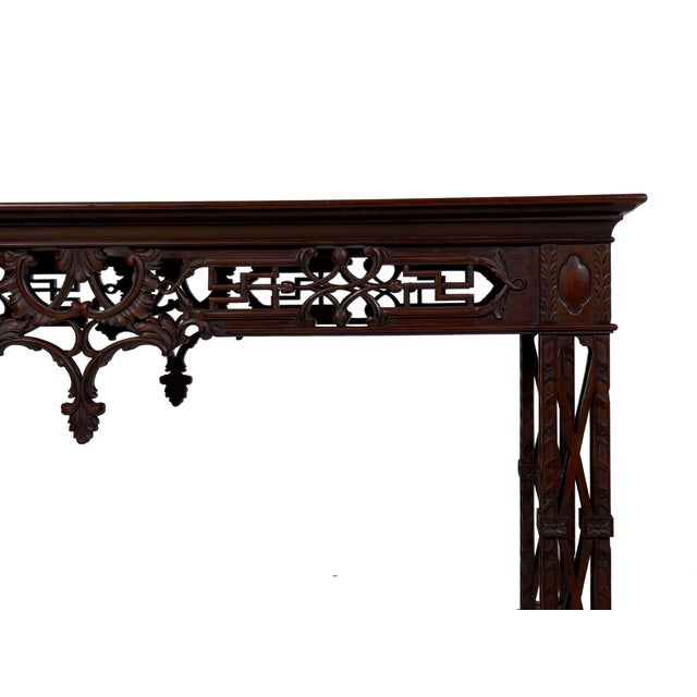 Carved Mahogany English Antique Library Console Table For Sale - Image 9 of 13