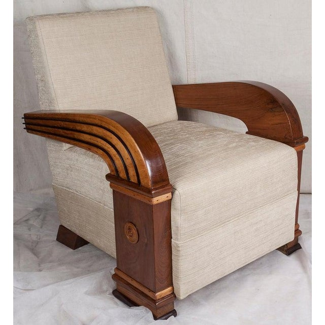 Art Deco Upholstered Teak Loveseat & Chairs Living Room Set - 3 Pc. For Sale In Nantucket - Image 6 of 11