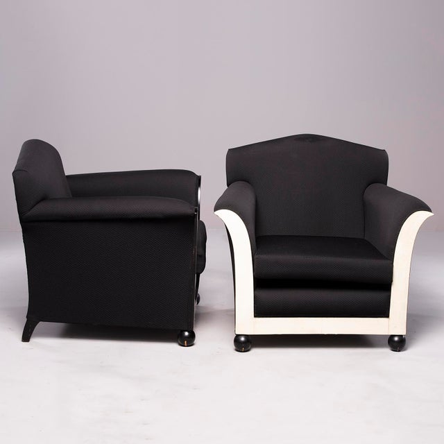 Art Deco French Art Deco Vellum Edged Club Chairs - a Pair For Sale - Image 3 of 12