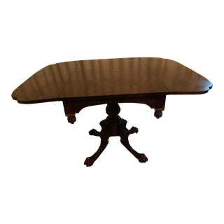 Henredon Hand Carved Mahogany Table & 2 Adjustable Leaves For Sale