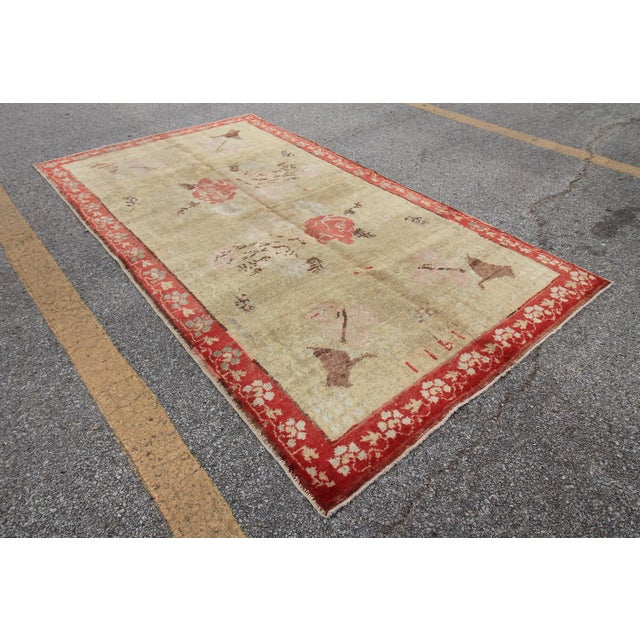 Islamic Vintage Tribal Antique Turkish Oushak Hand Knotted Rug - 4'5 X 7'8 For Sale - Image 3 of 6