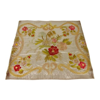 Antique Regency Floral Silk Embroidery Panel For Sale