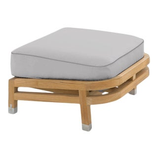 Linley Footrest in Fashionable Grey with Moonlit Orchid Welt For Sale
