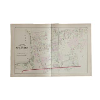 Antique Woburn Massachusetts Atlas Map Plate For Sale