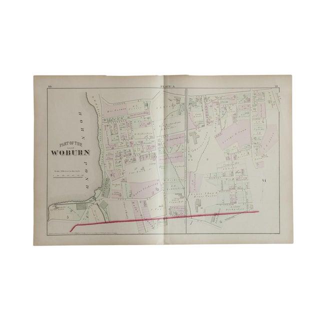 Antique Woburn Massachusetts Atlas Map Plate For Sale