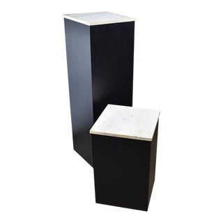 Two Square Black Marble and Wood Display Pedestals With Marble Tops - a Pair For Sale