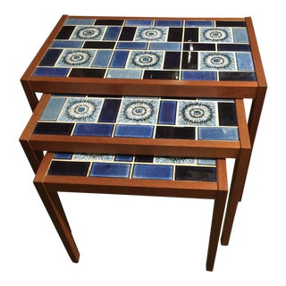 Danish Modern Nesting Tables Tile Top Teak For Sale