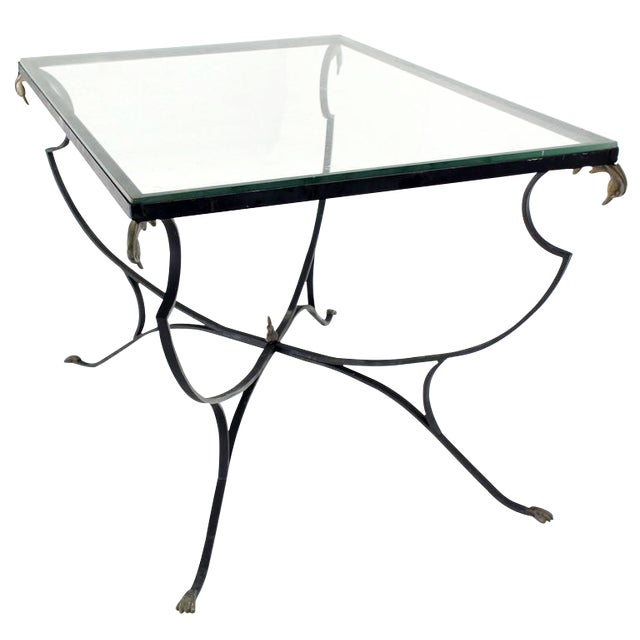 Figural Wrought Iron Brass Bird Tips Glass Top Outdoors Dining Table For Sale
