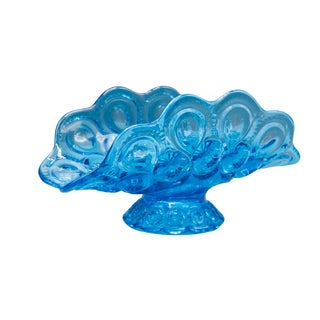 Mid-Century Shabby Chic Art Glass Napkin Holder Bowl in Blue Shade Circa 1970's For Sale
