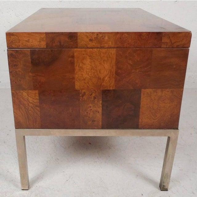 Lane Furniture Mid-Century Modern Burl Storage Box with Chrome Base For Sale - Image 5 of 11