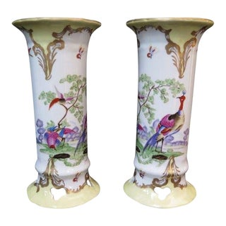Chelsea House Peacock Porcelain Vases - a Pair For Sale