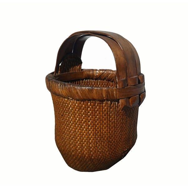 Chinese Antique Chinese Hand-Woven Basket For Sale - Image 3 of 5