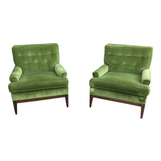 Mid-Century Green Velvet Lounge Chairs- a Pair For Sale