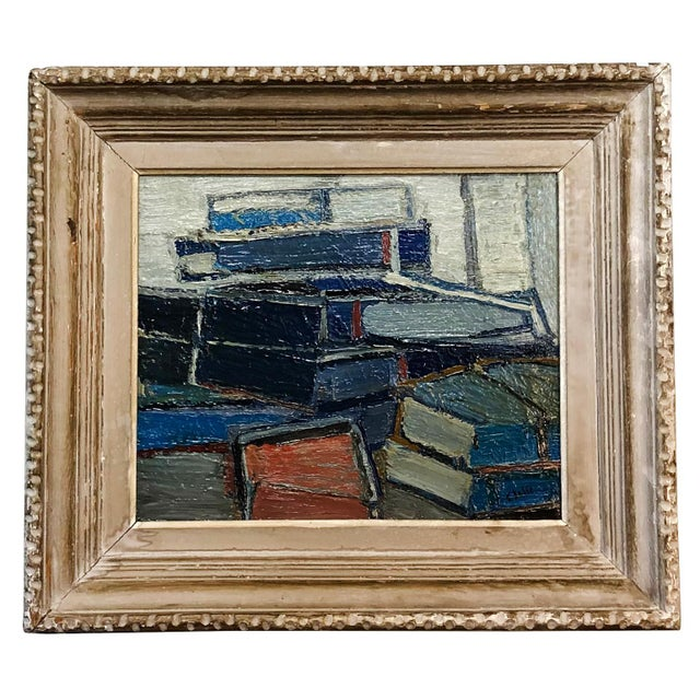 Late 20th Century 20th Century Stacked Books Painting by Daniel Clesse For Sale - Image 5 of 5