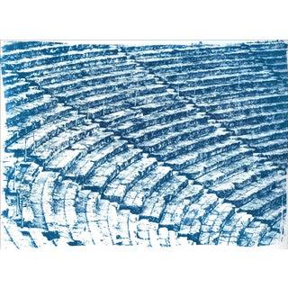 Ancient Roman Amphitheater, 100x70cm Cyanotype on Watercolor Paper, Greek Architecture Blueprint For Sale