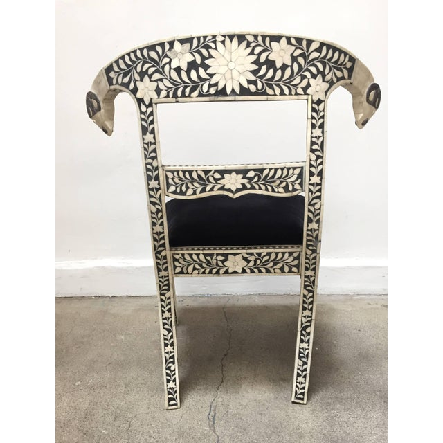 Vintage Mid Century Anglo-Indian Bone Inlaid Side Chairs With Ram's Head- a Pair For Sale - Image 4 of 11