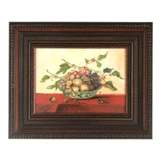 "French ""Bowl of Fruit"" Framed Still Life Oil Painting For Sale"