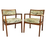 Image of Mid-Century Walnut Upholstered Armchairs - a Pair For Sale