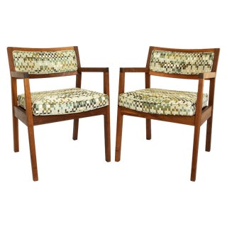 Mid-Century Walnut Upholstered Armchairs - a Pair For Sale