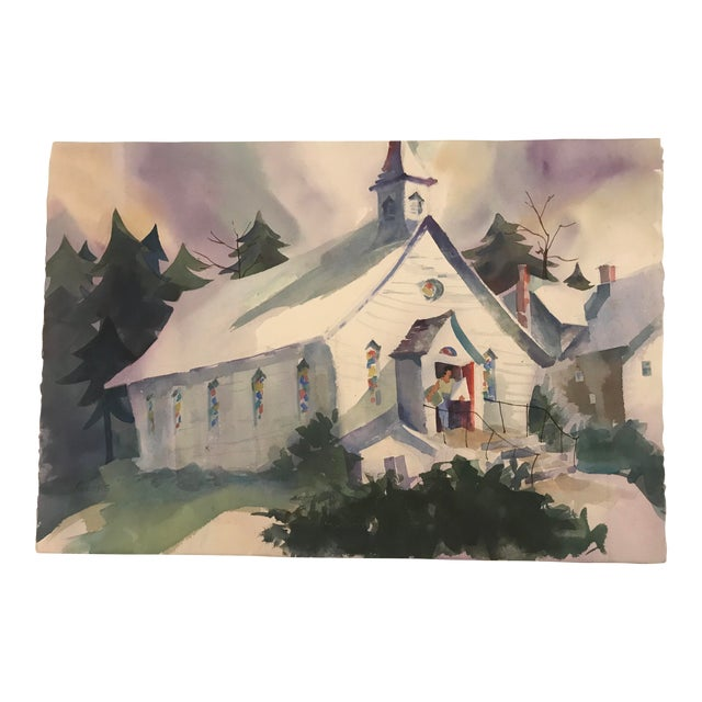1980s Geers Cityscape With Church Painting For Sale