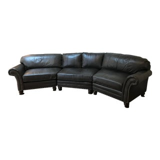 King Hickory Gray-Brown Leather Sectional For Sale
