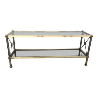 Neoclassical Style Brass & Glass Console Table For Sale