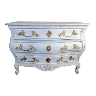 Early 20th Century White French Louis XV Commode Bombe Chest For Sale