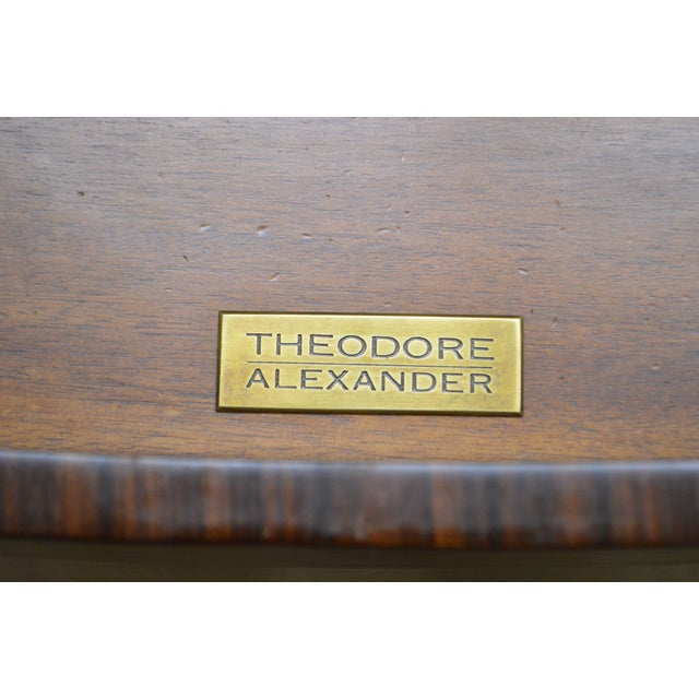 Burlwood Theodore Alexander Inlaid Burl Wood Demilune Bow Front Side Cabinet Console For Sale - Image 7 of 13