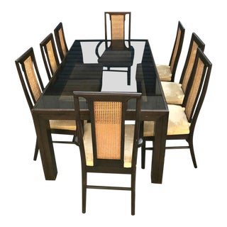 Vintage 1970's Henredon Dining Table Set- 9 Pieces For Sale