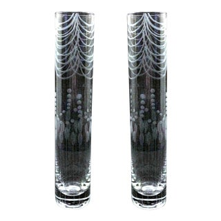 Etched Clear Glass Bud Vase - A Pair