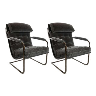 Midcentury Chrome and Graphite Mohair Button Back Lounge Chairs by Milo Baughman - a Pair For Sale