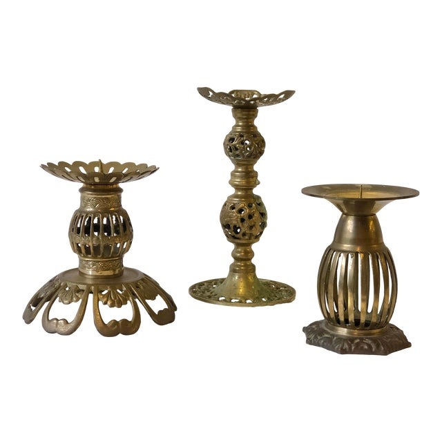 1970s Brass Bohemian Candlesticks - Set of 3 For Sale