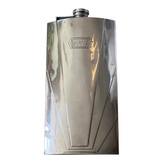 C. 1920's Art Deco Sterling Silver One Pint Hallmarked Flask For Sale