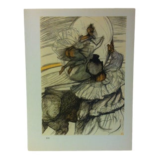 """Circa 1980 """"At the Circus Jumping Through the Hoop 1899"""" Color Print of a Toulouse-Lautrec Drawing For Sale"""