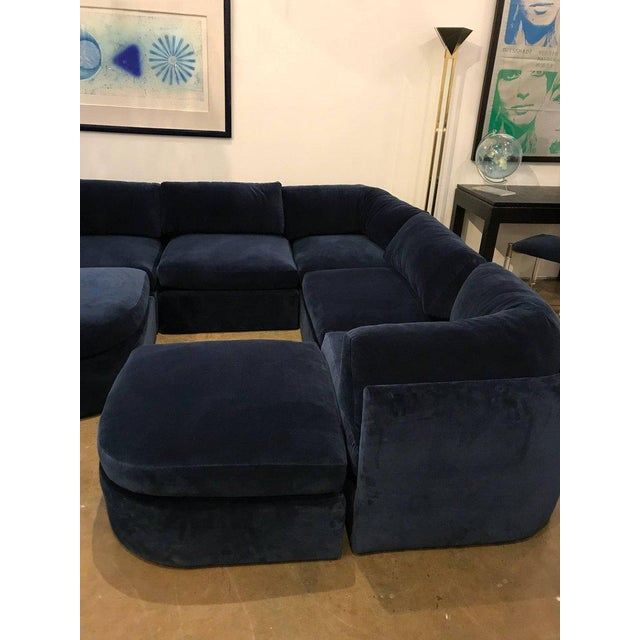 Mid Century Modern / Contemporary 10 pc Thayer Coggin Sectional in Cotton Velvet - Image 5 of 9
