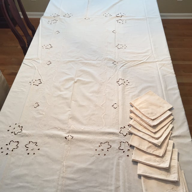 Vintage Ecru Cotton/Linen Cutwork Table Cloth and Napkins For Sale - Image 12 of 13