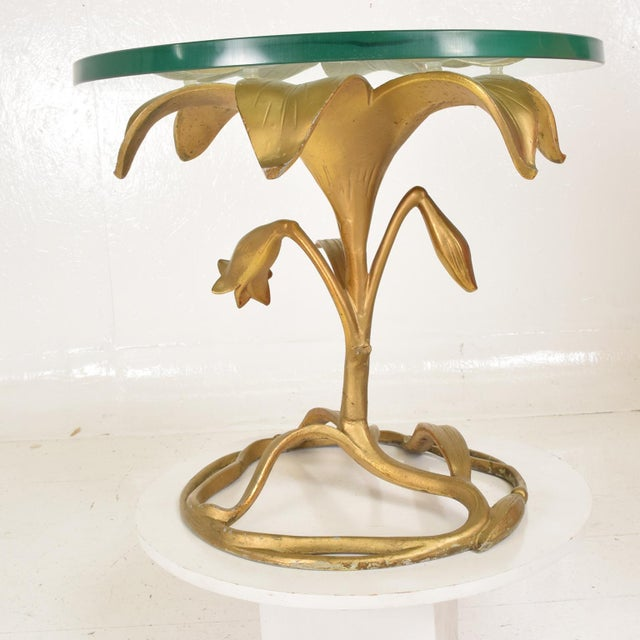 Aluminum Hollywood Regency Side Aluminum Table by Arthur Court, Gilded Lily For Sale - Image 7 of 10