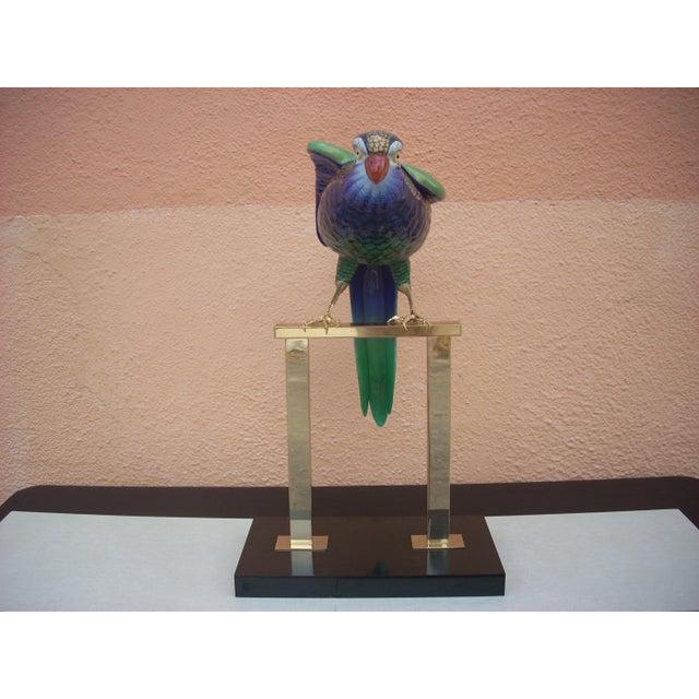 Green & Brass Parrot Sculpture - Image 6 of 7