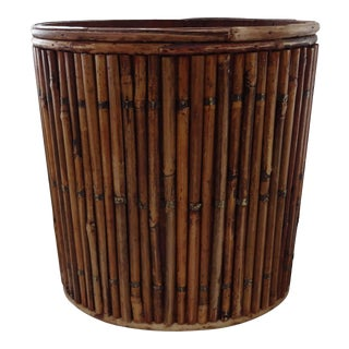 Vintage Reed Rattan Waste Basket For Sale